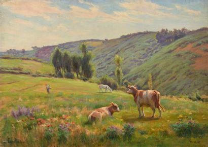 Charles WISLIN (1852-1932)  Vaches et fermière...
