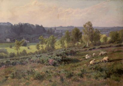 Charles WISLIN (1852-1932)  Paysage au clocher...