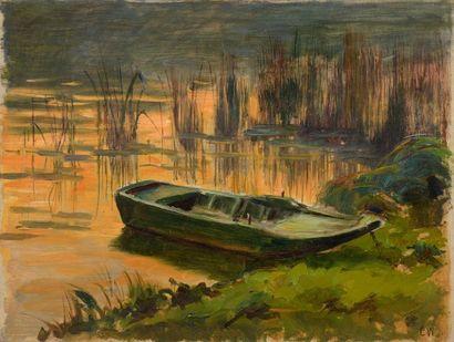 Charles WISLIN (1852-1932)  Barque au crépuscule...