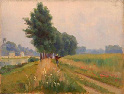 Charles WISLIN (1852-1932)  Promeneur à Héricy-sur-Seine...