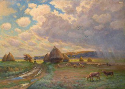 Charles WISLIN (1852-1932)  Orage en plaine...