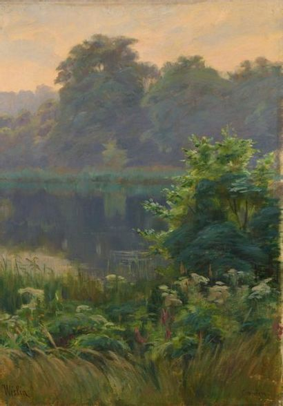 Charles WISLIN (1852-1932)  L'étang en forêt...
