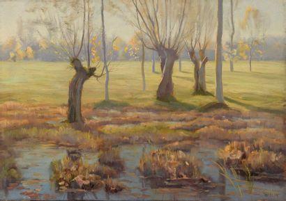 Charles WISLIN (1852-1932)  Paysage à Nemours,...