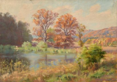 Charles WISLIN (1852-1932)  L'étang à l'automne...