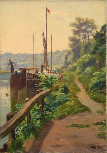 Charles WISLIN (1852-1932)  Péniches en bord...