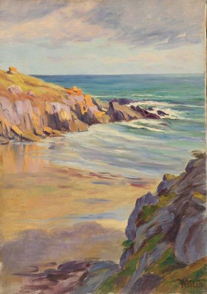 Charles WISLIN (1852-1932)  Plage à Rospico...