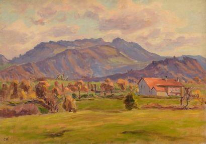 Charles WISLIN (1852-1932)  Vue de village...