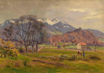 Charles WISLIN (1852-1932)  Fermière et sa...