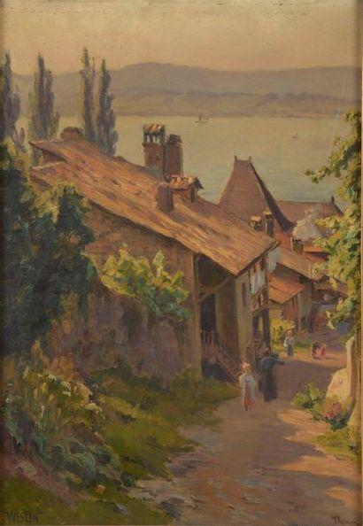 Charles WISLIN (1852-1932)  Bord du lac Léman...