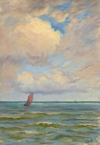 Charles WISLIN (1852-1932)  La voile rouge...