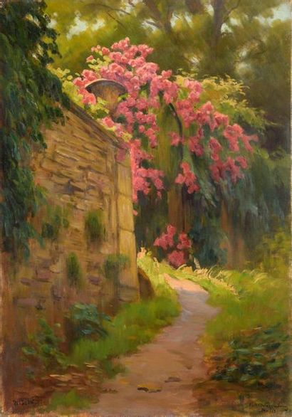 Charles WISLIN (1852-1932)  Fleurs grimpantes...