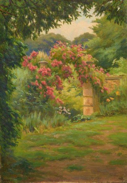 Charles WISLIN (1852-1932)  Le jardin fleuri...