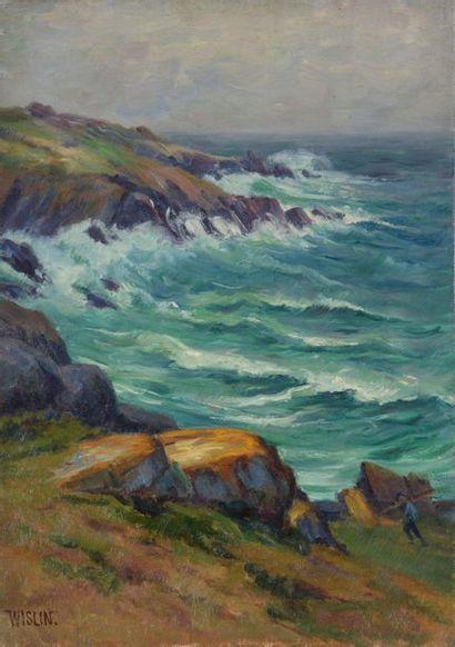 Charles WISLIN (1852-1932)  Pêcheur en bord...