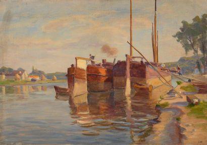 Charles WISLIN (1852-1932)  Péniches amarrées...