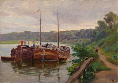 Charles WISLIN (1852-1932)  Le linge séchant...