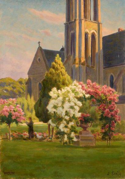 Charles WISLIN (1852-1932)  L'abbaye de Saint-Vincent...