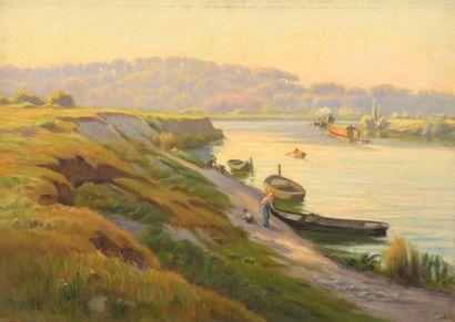 Charles WISLIN (1852-1932)  Barques en bord...