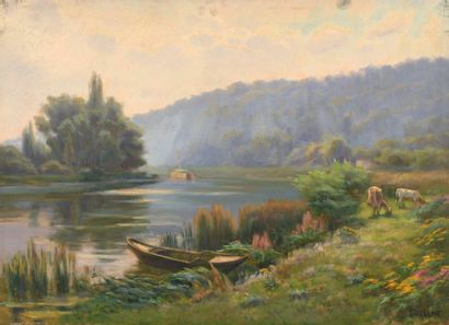 Charles WISLIN (1852-1932)  Vaches en bord...