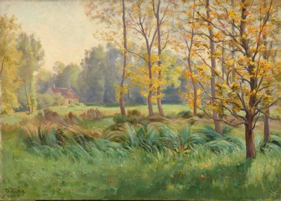 Charles WISLIN (1852-1932)  Maison à Vertefeuille,...