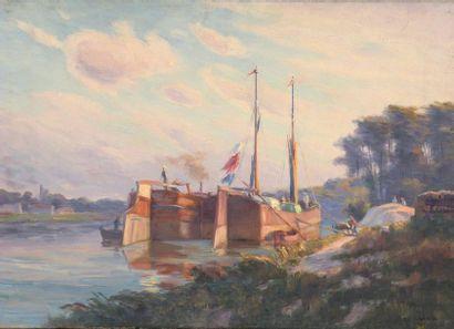 Charles WISLIN (1852-1932)  Péniches sur...