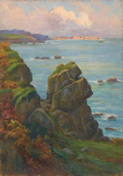 Charles WISLIN (1852-1932)  Rochers en bords...