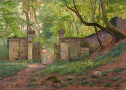 Charles WISLIN (1852-1932)  Jeune femme entrant...