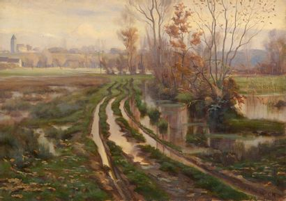 Charles WISLIN (1852-1932)  Paysage d'hiver...