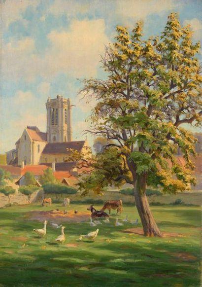 Charles WISLIN (1852-1932)  Vue de l'église...