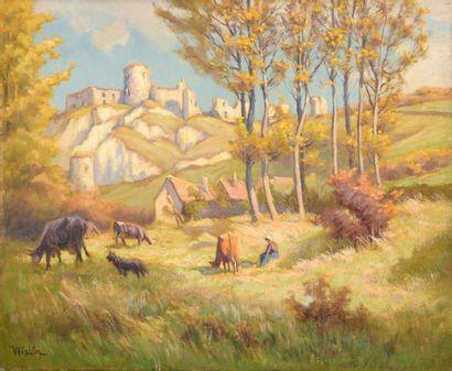 Charles WISLIN (1852-1932)  Bergère devant...