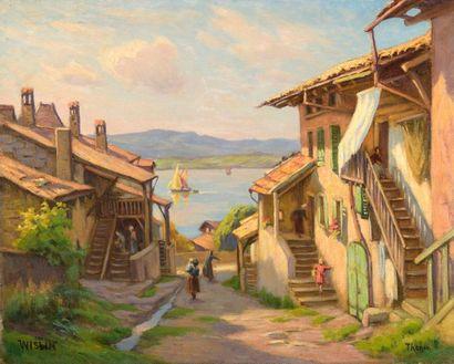 Charles WISLIN (1852-1932)  Vue du lac Léman...