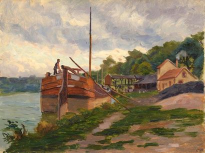 Charles WISLIN (1852-1932)  Péniche en bord...