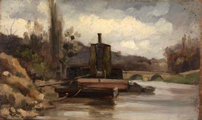 Charles WISLIN (1852-1932)  Barques à Billancourt,...