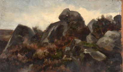 Charles WISLIN (1852-1932)  Rochers aux Vaux-de-Cernay,...
