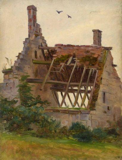Charles WISLIN (1852-1932)  Maison en ruines...