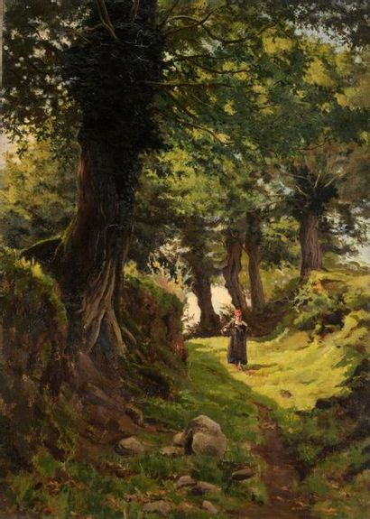 Charles WISLIN (1852-1932)  Promeneuse en...