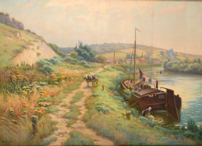 Charles WISLIN (1852-1932)  La péniche aux...