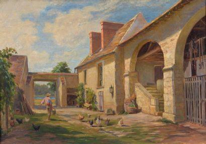 Charles WISLIN (1852-1932)  Cour de ferme...