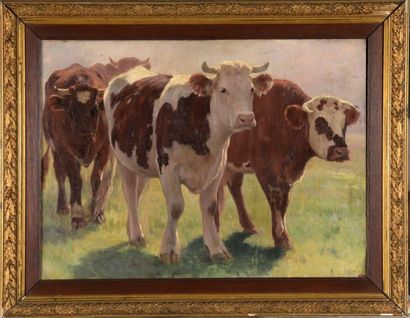 Charles WISLIN (1852-1932)  Les vaches  Huile...