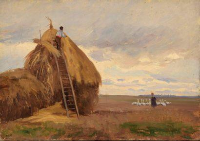 Charles WISLIN (1852-1932)  La gardienne...