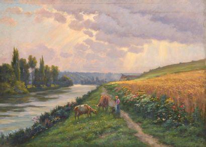 Charles WISLIN (1852-1932)  Fermière et ses...