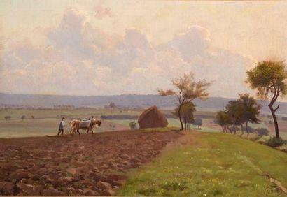 Charles WISLIN (1852-1932)  Le labour dans...