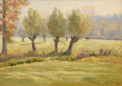 Charles WISLIN (1852-1932)  Vaches à Nemours,...