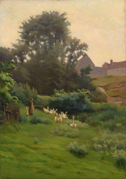 Charles WISLIN (1852-1932)  Gardienne d'oies...