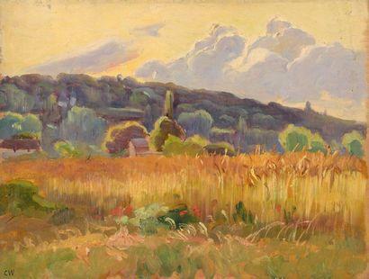Charles WISLIN (1852-1932)  Les blés à Valvins,...