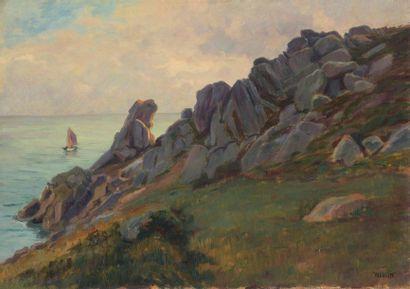Charles WISLIN (1852-1932)  Rochers à Port-Manec'h...
