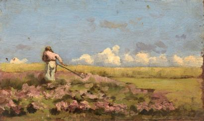 Charles WISLIN (1852-1932)  Le faucheur  Huile...