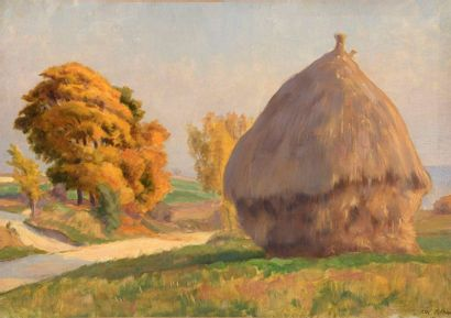 Charles WISLIN (1852-1932)  Meules à Retheuil,...