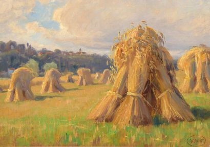 Charles WISLIN (1852-1932)  Bottes de foins...