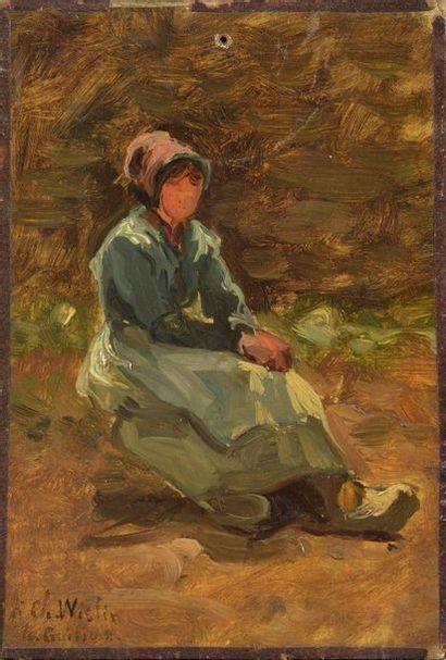 H. GUILLON (XIXe siècle)  Paysanne assise...