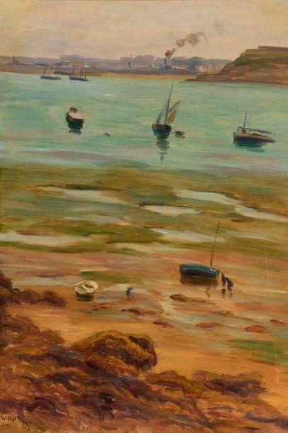 Charles WISLIN (1852-1932)  Dinard à marée...